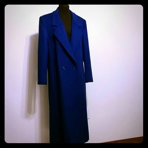 Michelle Stewart blue wool long coat M